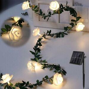 Solar LED Rose Blume Lichterkette Außen Garten String Licht für Party Deko DE