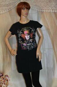 Mad Hatter Cap Sleeve Long T- Shirt/ Dress/ Sleepwear Women's Size M