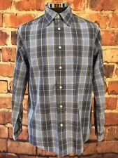 Eddie Bauer Mens Long Sleeve Blue White Gray Tartan Plaid Dress Shirt Size L
