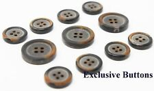 Black Genuine Horn Buttons with Burn Effect For Suit, Blazer, or Sport Coat