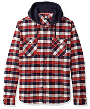DC Shoes Runnels Flannel Shirt Hoodie - NWT Mens XL Navy / Red - #30785-N5-1070