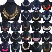 Fashion Women Boho Crystal Pendant Choker Statement Bib Necklace Chain Jewelry
