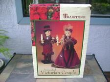 """TRADITIONS ANIMATED VICTORIAN COUPLE Holiday Animated Moving 26"""" Figures"""