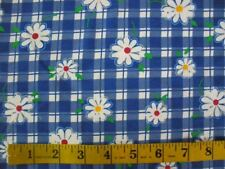 Fabric yardage Cotton Knit spandex blend Blue & White Daisies Floral on Gingham