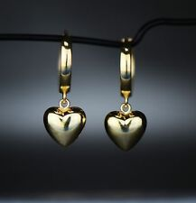 14k Yellow / White Gold Dangle Puffed Heart Huggie Earrings