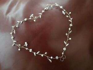 Bridal Pearl Hair Vine crown, Boho Celtic wedding, woodland bride Gold, silver