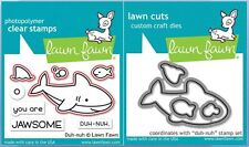 Lawn Fawn Photopolymer Clear Stamp & Die Combo ~ DUH-NUH   Shark  ~LF1419,1420