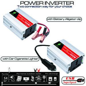 300W Car Power Inverter DC 12V to AC 220V w/USB Display Lighter Plug