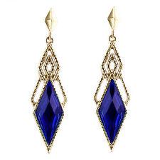 Vintage Style Gold & Dark Royal Blue Long Drop Stud Earrings E857