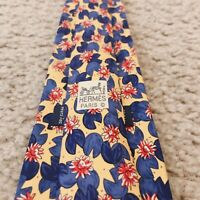 Men's Authentic Hermes Paris Tie Floral Yellow Silk Made in France