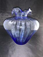 """Large 11"""" Fenton??? Light Blue Glass Vase Ribbon Top e122"""