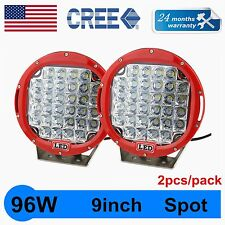 2X CREE 9INCH 96W LED WORK LIGHT SPOT DRIVING LAMP ROUND RED JEEP TRUCK BOAT 4WD