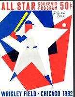 1962 Baseball All Star Game Program @ Wrigley Field