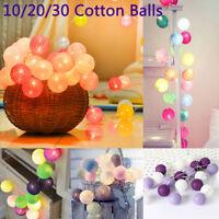 10/20/30 Cotton Ball LED Fairy String Light Wedding Party Patio Christmas Decor