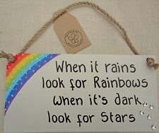 SHABBY CHIC WHEN IT RAINS LOOK FOR RAINBOWS SIGN PLAQUE FRIEND  CHRISTMAS GIFT