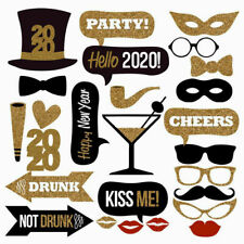 26PCS 2020 New Year's Eve Party Supplies Card Masks Photo Booth Props Decoration