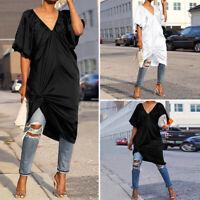 Womens Summer Short Sleeve Beach Tops V Neck Shirt High Low Blouse Casual Dress