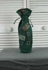 Wine Bottle Gift Bag Wrapper -  Green Jute w/ Travel Art Blue Fish Red Moon