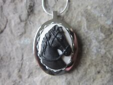 STAINLESS STEEL BLACK HORSE CAMEO URN NECKLACE - MOURNING, ASHES, HAIR