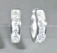 Klapp-Creolen Damen Ohrringe - 925 Sterling Silber & Zirkonia - 14 mm + Etui