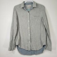 Faherty Women's Top Medium M Blue Collared Long Sleeve Button Up