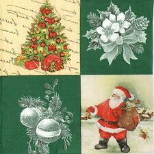 4x Green Christmas Paper Napkins for Decoupage Decopatch Craft