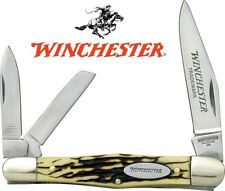"Winchester 3-1/2"" Whittler Pocket Knife - Imitation Stag Handle NEW WN14070CP"