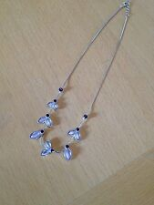 Pretty Antique Look Leaf Necklace/Purple/Lilac/Diamante & Frosted Glass