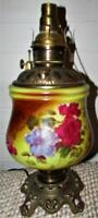 Antique Fostoria GWTW Oil Kerosene Lamp Base Electrified w/ Brass Font / Pansies