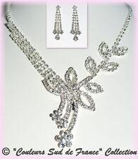 Parure de bijoux femme soir collier argenté boucles cristal clair mariage miss