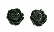 Women Crysta Natural Stone Rose Cute Flower Earring Silver Stud Jewelry Gift