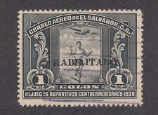 Salvador Sc C45 used 1935 1col black Runner w/ Habilitado ovpt, F-Vf