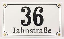 Emaille Hausnummernschild Kombi klein mit Wunschzahl / Text 25x15 cm Hausnummer