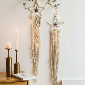 Star Shape Macrame Wall Hanging Woven Tapestry Handmade Boho Craft House Decor
