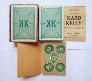 Kard Kelly Kelly Pool with Cards by Arba Perry Chicago (1900s) Vintage Card Game