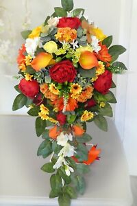 Bridal teardrop/shower bouquet natural autumn colours red orange yellow