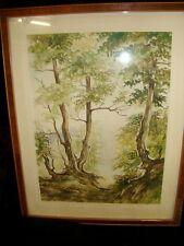 GEORG BIRGEL 1960 AQUARELL Bild gemalt Landschaft Landschaftsbild Wald Bäume