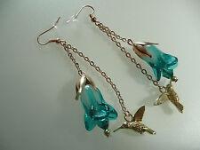 Vintage Art Deco Style Hummingbird, Crystal & Cabbage Glass Flower Long Earrings