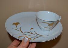 Vintage 16 piece Snack Plate Set Serves 8 Hand Painted 22K Gold Wheat Japan
