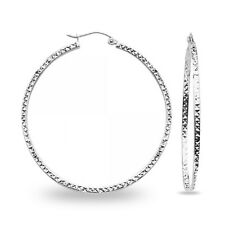 14k White Gold Round Diamond Cut Hoops Square Tube Earrings Hollow French Lock