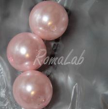 4 MAXI PERLE ROTONDE 2,5 cm rosa PERLINE in PLASTICA con foro passante grandi