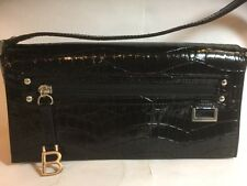 BISOU BISOU - Faux Black Leather Small Handbag With Full Bag Length/Height Flap