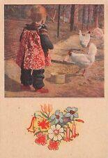 AK Kind Mädchen mit Hühner Wede-Aufbauverlag u. Vertrieb Gera