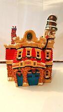 Disney Lighted Christmas House Toontown Fire Department, EUC, Retired, HTF