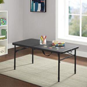 Mainstays 4' Fold-In-Half Adjustable Table, Rich Black