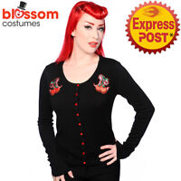 RKN24 Banned 50s Style Cherry Bow Sweater Black Pin Up Cardigan Retro Rockabilly