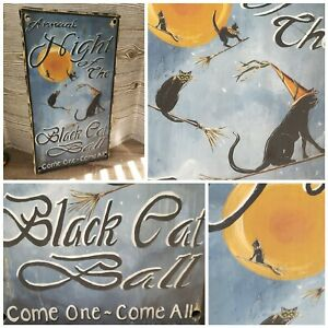 """Primitive Halloween Hanging Sign """"Black Cat Ball"""" Wooden Sign with Black Cats"""