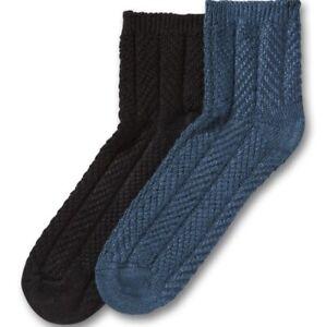 No Nonsense Women's Chevron Rib Low Calf Boot Socks 2 Pair Shoe Size 4-10 NEW!
