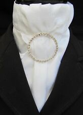 Ready Tied Deluxe White Faux Silk & Paisley Satin Bib Dressage Riding Stock