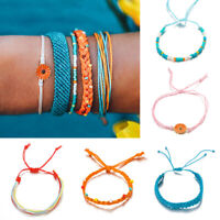 Women Handmade Bracelets Adjustable Sunflower Waterproof String Jewelry 5Pcs/set